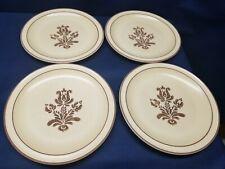 """Pfaltzgraff """"Village"""" Dinner Plates-Brown Design on Cream Yellow Set/4 Vintage"""