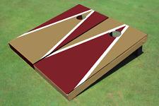 Dark Gold And Maroon Alternating Triangle Custom Cornhole Board