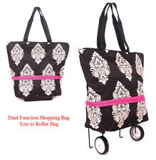 Shopping bag on Wheels expandable to lightweight Roller Bag with free Id Holder
