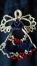 Tatting Tatted Angel patriotic blue heart size 10 thread