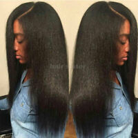 Glueless Brazilian Remy Human Hair Wigs Yaki Straight Lace Front Full Wig Black