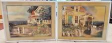 PAIR 2 SET JIM WILSON SIGNED NUMBERED LTD ED 100 3D COLLAGE ART SEASIDE COTTAGE