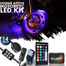 14x Motorcycle Led Underglow Neon Pod Light Kit 18-Color w Remote & Switch