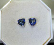 Womens Girls sweet heart design white GF 6mm blue mystic topaz stud earrings, UK