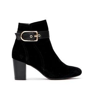 "Wallis Amulet Ladies UK 7 EU40 Black Faux Suede 3"" Block Heel Zip Up Ankle Boots"
