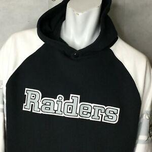 Reebok Oakland Raiders Hoodie Sz L Gridiron Classic Mens Black White Pull Over