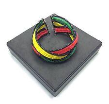 Rasta Beaded Band Bracelet Wrist Cuff Jah Dread Reggae Queen Empres Bob Marley