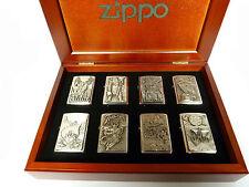 Zippo 8 unidades indoeuropeos en caja de madera kit completo vikingo emblema nuevo rar