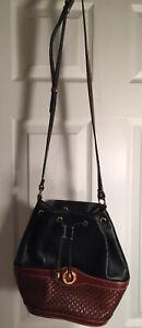 BALLY Italy Black Woven Pebbled Leather Drawstring Shoulder Bucket Bag