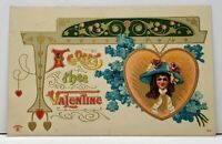 I Greet The Valentine Girl In A Locket Embossed Gilded Postcard F20