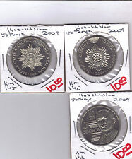 From Show Inv. -  3 UNC COMMEMORATIVE 50 TENGE COINS.KAZAKHSTAN.3 TYPES.ALL 2009