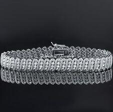 "Ladies Genuine 2.00CT Diamond 14K White Gold Finish Tennis S-Link Bracelet, 7.5"""