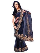 Indian Net Saree Sari Bollywood Wedding Designer Curtain KAFTAN Party Wear Dress