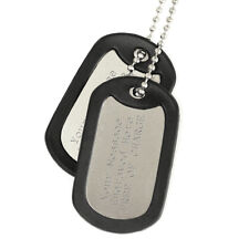 Two Engraved Army Dog Tags With Silencers Personalised Birthday Christmas Gift