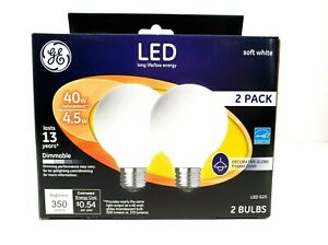 GE Vanity Globe LED Light Bulb 2 Pack Decorative Pendant Soft White G25 Medium