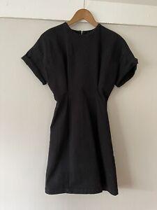 Zara 1975 Denim Black Dress Sinched Waist Xs