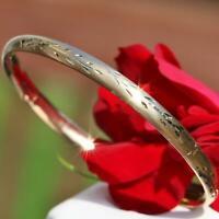 "14k yellow gold bracelet 7.0"" diamond cut hinged bangle handmade 4.8gr N2605E"