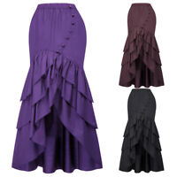 Victorian Long Bustle Skirt Women Ladies Long Steampunk Retro Gothic Dress