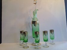 Italian Art Glass Decanter w Stopper and 5 Glasses green and gilding Labeled