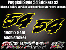 Poggialli 54 Decal Sticker x2 Moto Racing Bicicleta Casco Portátil Coche Scooter Amarillo