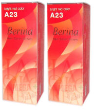 2 x Berina Permanent Hair dye color cream # A23 Bright Red