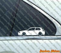 2X Lowered car outline stickers - for Alfa Romeo 147 (2000 - 2004) 3-DOOR