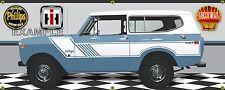 1974 INTERNATIONAL IH SCOUT II RALLYE MED BLUE GARAGE SCENE BANNER SIGN ART 2X5
