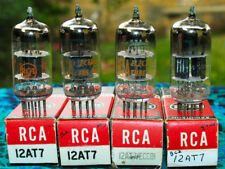 RCA 12AT7 ECC81 grey plate halo getter strong NOS NIB quad tubes