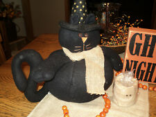 PRIMITIVE HALLOWEEN BLACK CAT SHELF SITTER DOLL witches hat FALL SPOOKY CUTE