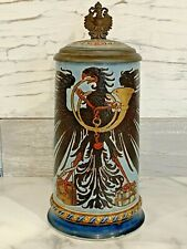 Antique Mettlach 1/2 L GERMAN POSTAL EAGLE Beer Stein 1856 RARE Mint