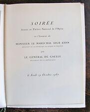 PROGRAMME Soiree Opera de Paris, Marechal Ayub Khan president Pakistan et  Gener