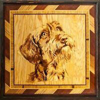Fox terrier perro pared imagen mascota retrato madera arte panel intarsia...