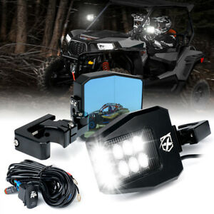 Xprite Smoked Rear View Side Mirror Set w/ LED Spot Light for Polaris RZR Can-Am