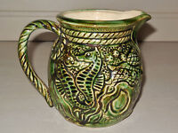 Antique French Majolica PITCHER - SHELLFISH : CRAB, SEA HORSES, SHELLS, OYSTER