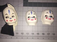 """Vintage Lot of 3 Doll Faces Jester Molded cardboard Clown 3"""" tall"""