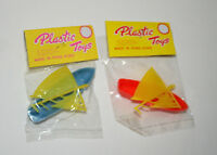 2 Dime Store Toy Boat Sailboat Plastic 1970s Nos New MIB Hong Kong Blue & Red
