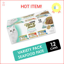 (12 Pack) Fancy Feast Grain Free Pate Wet Cat Food Variety Pack, Seafood Cla …