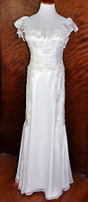White Beaded Lace Wedding Gown by 2 Be Bride Size 12