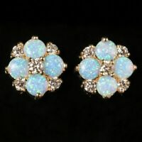 OPAL DIAMOND CLUSTER STUD EARRINGS 9CT GOLD 1.60CT OPAL