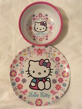 Hello Kitty - 2 Piece Meal Time Plastic Plate and Bowl, Brand New