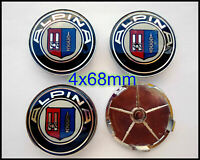 4pcs ALPINA Alloy Wheel Centre Caps 68MM Blue - Fits E90 E46 Z4 1 3 5 X5 BMW