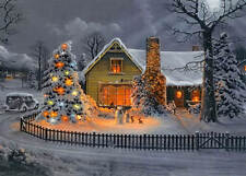Colorful Winter Christmas House  Tree Snowmen Bunnies at night vintage art