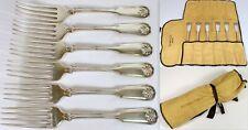 "6 Vtg Tiffany & Co Shell & Thread 1905 Sterling 6.75"" Entree Dinner Fork Set"