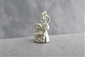 """Sterling Silver (925)  Solid 3D Charm """"Lady & Spinning Wheel"""""""