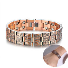 Health Copper Magnetic Therapy Men Bracelet Wristband Chain Link Pain Relief