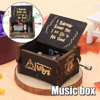 Black Harry Potter Music Box Engraved Wooden Music Box Interesting Xmas Gift Toy