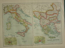 1902 ANTIQUE MAP ~ ITALY ROME ENVIRONS SICILY TUSCANY ~ BALKAN PENINSULA GREECE