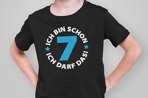 Kinder T-Shirt Ich bin schon 7 Jahre Party Geschenk Geburtstag blau sieben