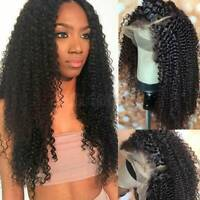 Glueless Afro Kinky Curly Lace Front Wig 100% Remy Peruvian Human Hair Wigs 6Nzz