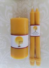 Handmade 100% Beeswax Wedding Unity Candle Set - Classic Yellow